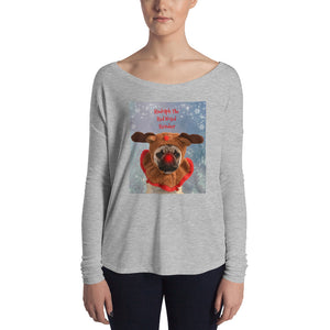 Ladies' Holiday Rudolph Pug Long Sleeve Tshirt