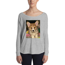 Load image into Gallery viewer, Ladies' Long Sleeve Corgi Puppy Tshirt