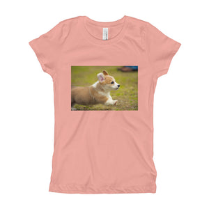 Girl's Puppy Corgi Running TShirt
