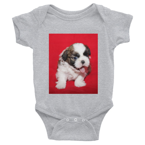 Infant Shih Tzu With Red Background Onesie Bodysuit