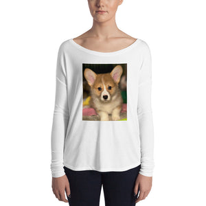 Ladies' Long Sleeve Corgi Puppy Tshirt