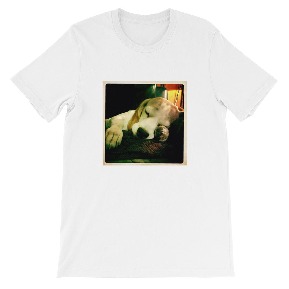 Short-Sleeve Unisex Sleeping Rodi the Beagle Tshirt