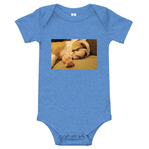 Sleeping Bulldog Puppy Infant Onesie Bodysuit