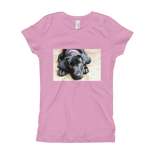 Girl's Black Labrador with Pink Collar TShirt