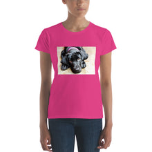 Load image into Gallery viewer, Women's short sleeve Black Labrador with Pink Collar Tshirt