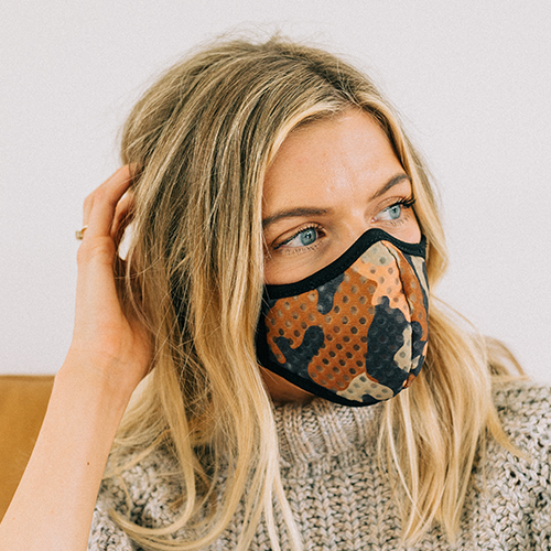 O2TODAY - O2SafeAir special collaboration, R.Riveter Trailblazer Camo woman mask