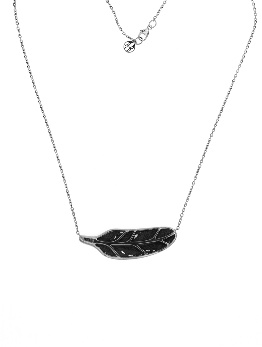 Jet Floating Feather Small - Grey Diamonds