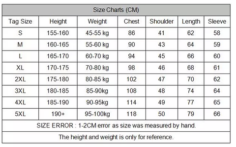 Size Chart Tactical Shirts