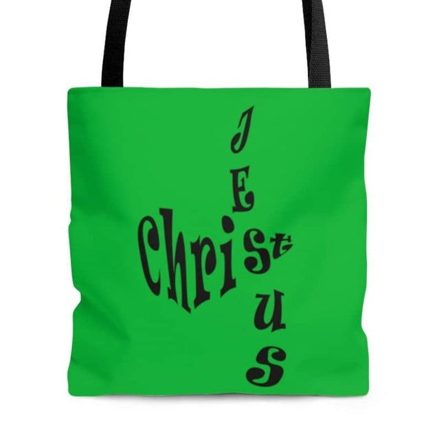 "AOP Tote Bag ""Jesus Christ"" in Christmas Green in 3 Sizes (3556835950692)"