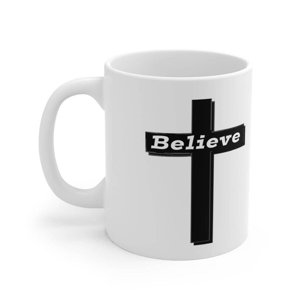 "White Ceramic Mug ""Believe"" in 11 oz or 15 oz"
