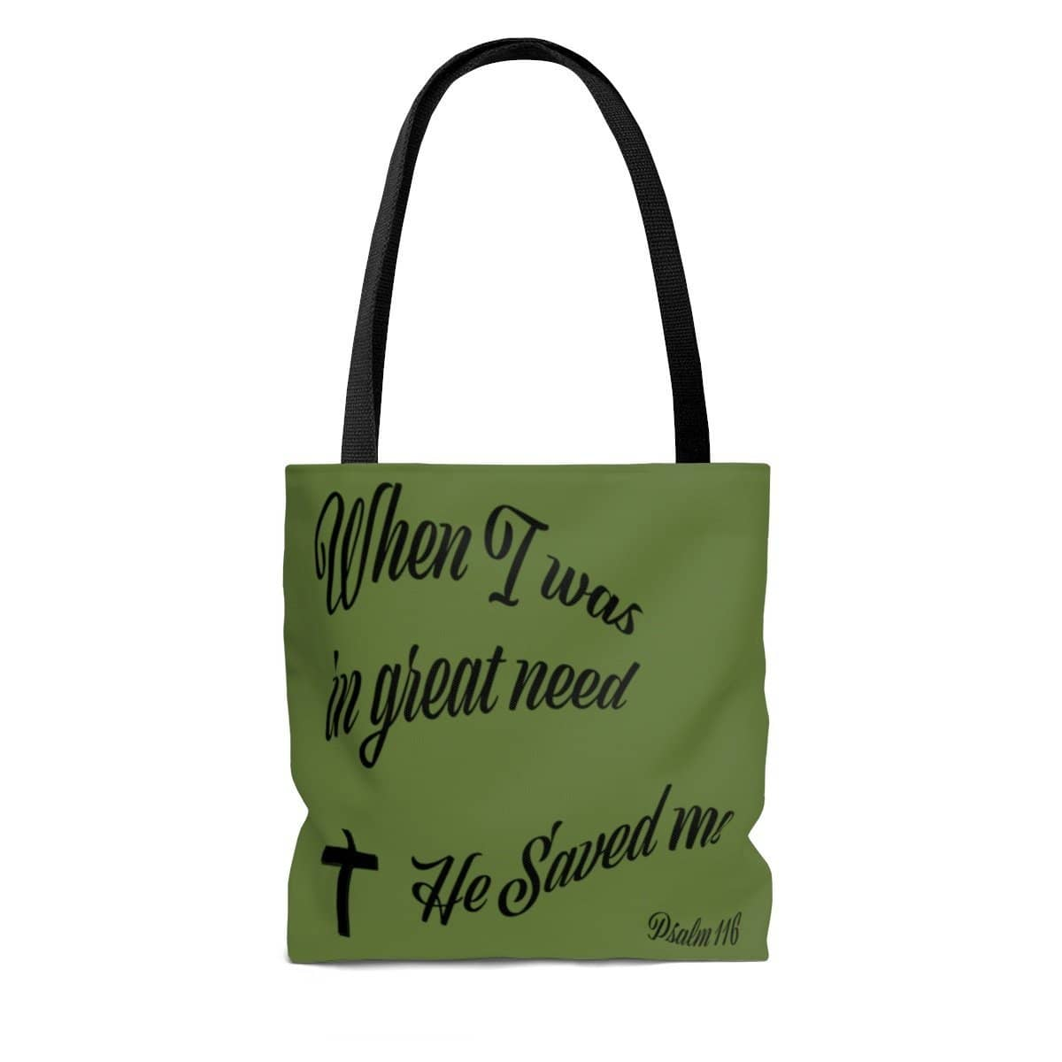 "AOP Tote Bag Army Green ""When I was in Great Need"" in 3 Sizes (3525015666788)"