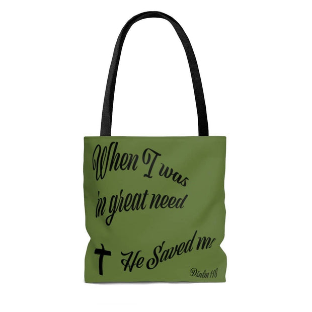 "AOP Tote Bag Army Green ""When I was in Great Need"" in 3 Sizes"
