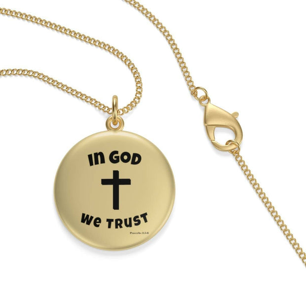 "Single Loop 18K Gold Plated Necklace Lotus Coin ""In God We Trust"" in 2 Lengths"