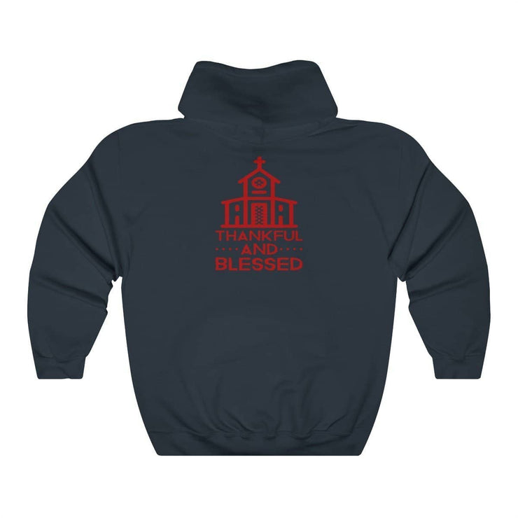 Thankful and Blessed (Red Theme) Unisex Heavy Blend Hooded Sweatshirt (11 Colors and 8 Sizes) Navy / S Hoodie