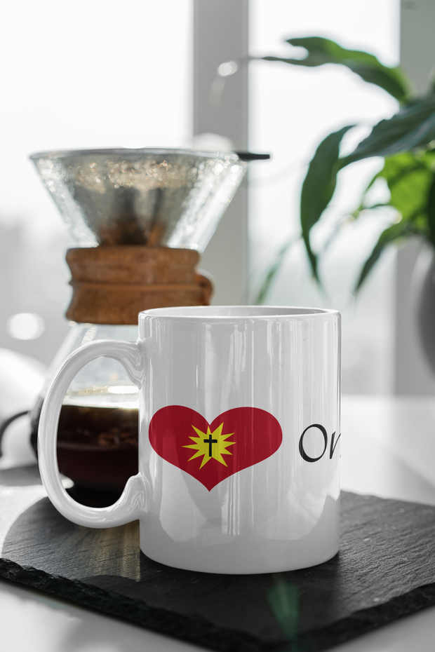 "White Ceramic Mug ""Love One Another"" in 11 oz or 15 oz"