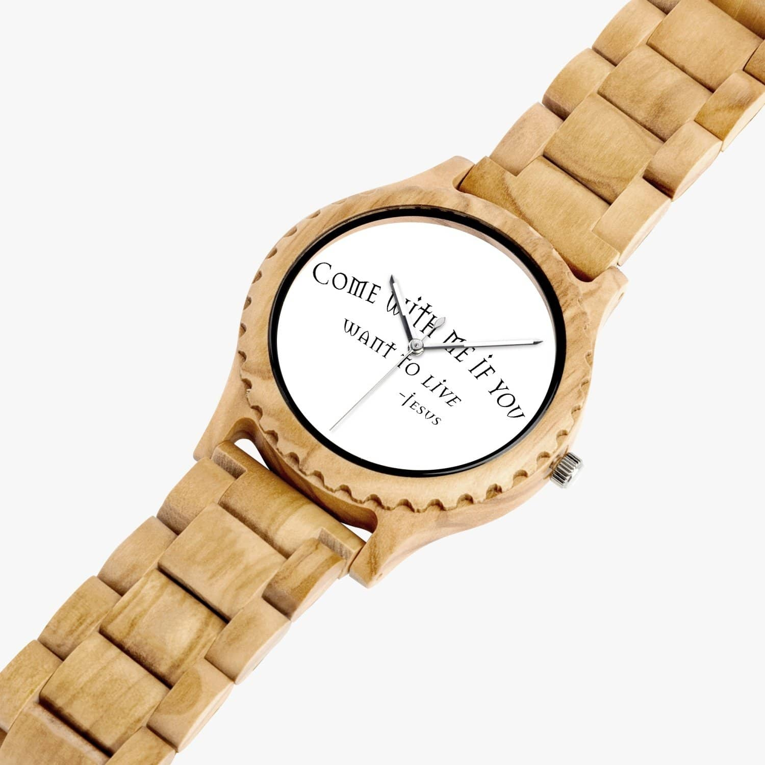 "Italian Olive Lumber Wooden Watch ""Come with Me"" (6119577190592)"