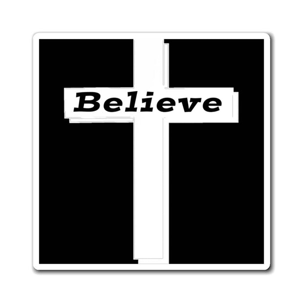 "Magnet White Cross ""Believe"" in 3 Sizes"