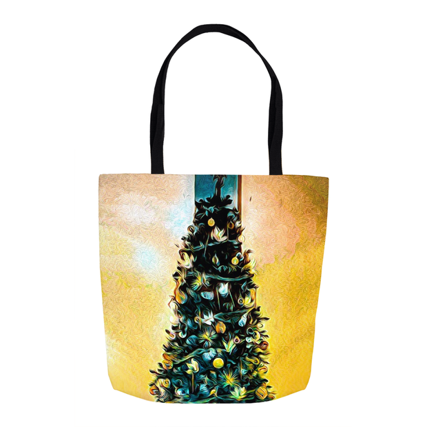 "Tote Bag ""Christmas Tree"" Yellow Theme in 3 Sizes"