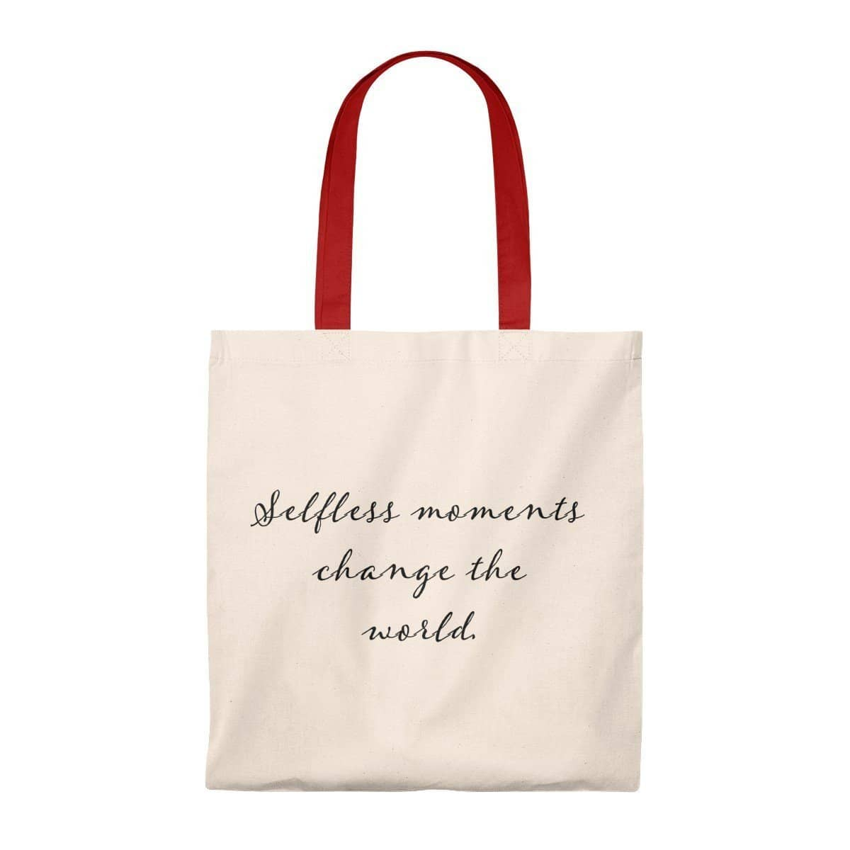Tote Bag - Vintage- Selfless Moments Change the World Natural/Red / Small Bags (3157075296356)