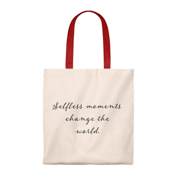 Tote Bag - Vintage- Selfless Moments Change the World Natural/Red / Small Bags