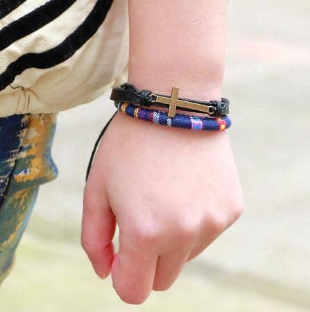 Vintage Leather Christian Bracelets with Adjustable Wax Cord in 7 Styles Ships Free from USA