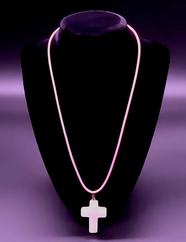 Rose Quartz Gemstone Cross Necklace with Pink Rope Chain (4294379307102)