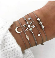 "Multi Layer Bracelet ""Snowflake Moon Stars"" Free Shipping! (4421320999006)"