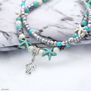 Boho Style Starfish Turtle Anklet Free shipping from the USA