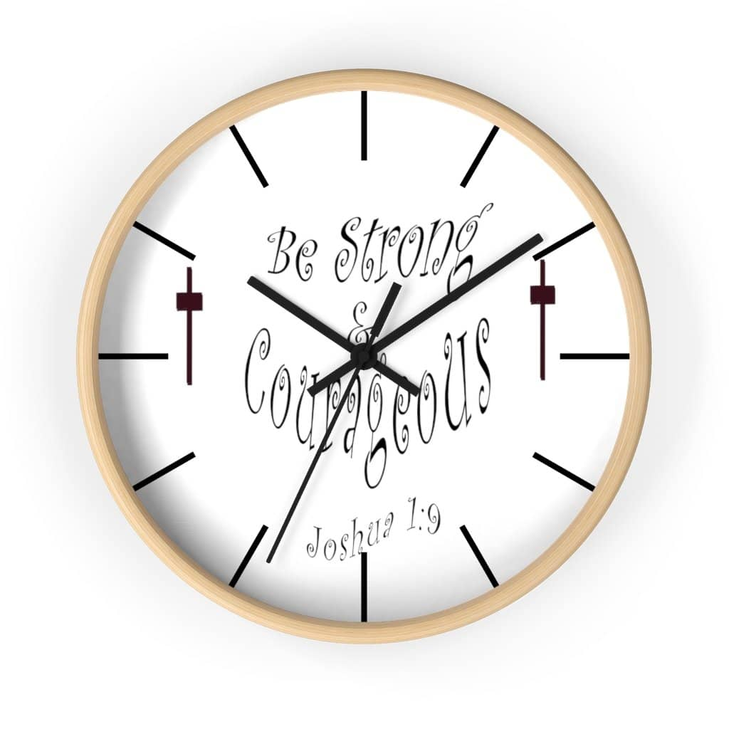 "Wall clock ""Be Strong & Courageous"" (3958407069790)"