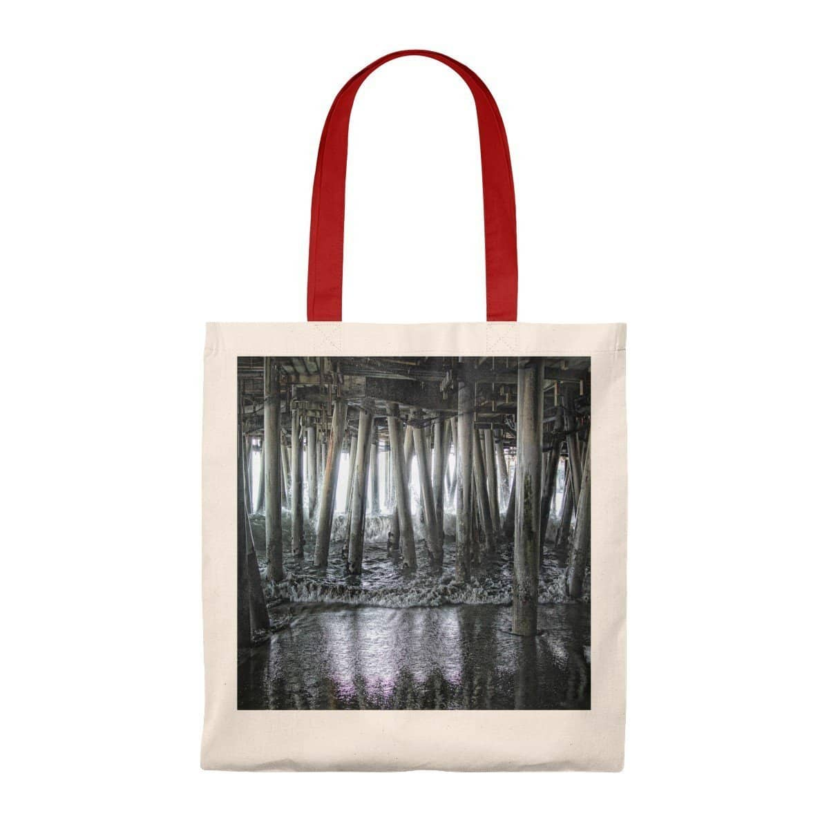 Tote Bag - Vintage Under the Pier (5 Colors) Natural/Red / Small Bags (2854226231396)