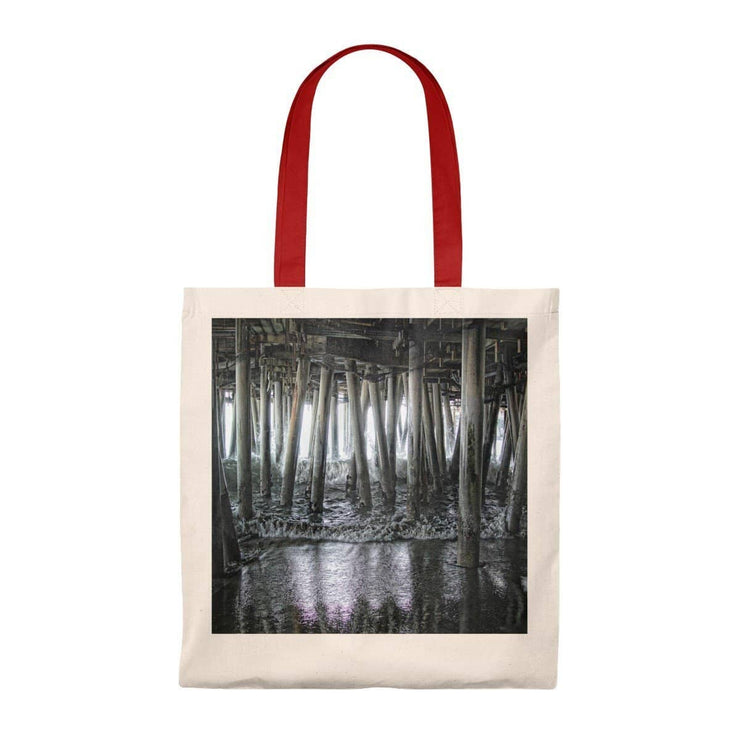 Tote Bag - Vintage Under the Pier (5 Colors) Natural/Red / Small Bags