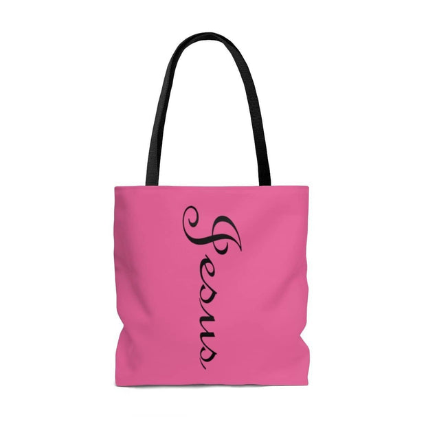 AOP Tote Bag Jesus Printed on both Sides Pink with a Black Handle in 3 Sizes Bags (3405842841700)