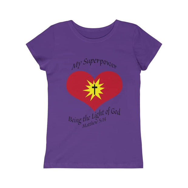 "Girls Princess Tee ""My superpower"" in 5 colors and 5 Sizes"