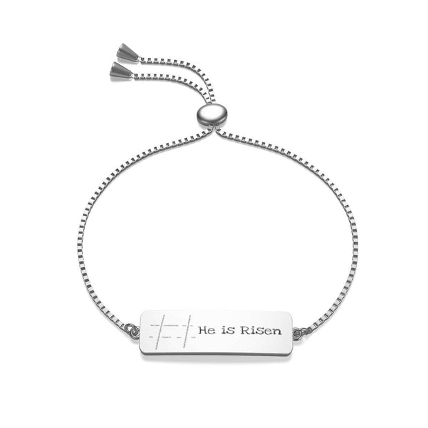 "Box Chain Sterling Silver Jaylon Bracelet ""He is Risen"""
