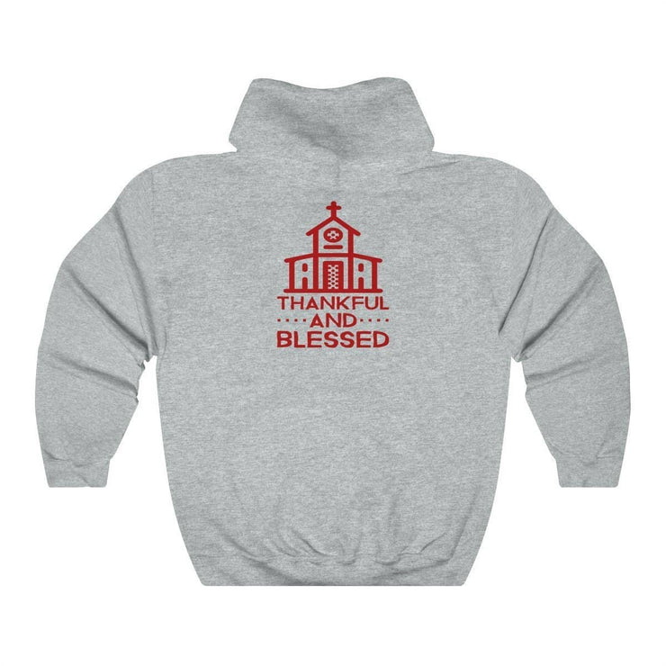 Thankful and Blessed (Red Theme) Unisex Heavy Blend Hooded Sweatshirt (11 Colors and 8 Sizes) Hoodie (3063763599460)