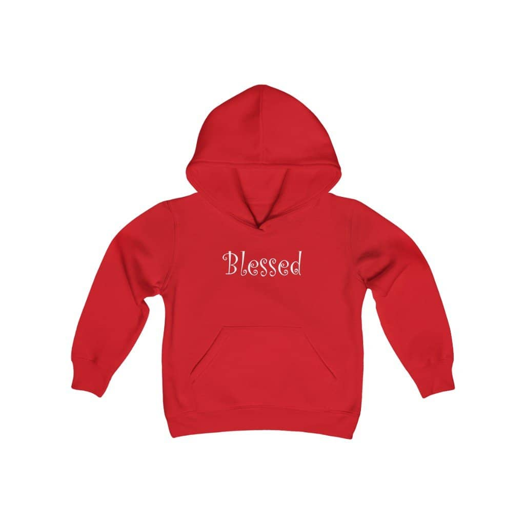 "Youth Hoodie Sweatshirt ""Blessed"" in 4 Sizes"