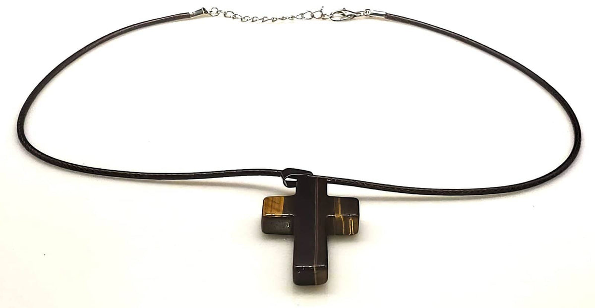 Tigers Eye Gemstone Cross Necklace 1.6 inch Cross Free Shipping (4381817700446)