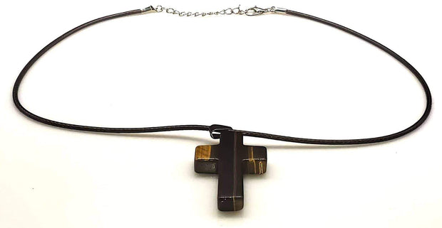 Tigers Eye Gemstone Cross Necklace 1.6 inch Cross Free Shipping (4381817700446) (4578205106270)