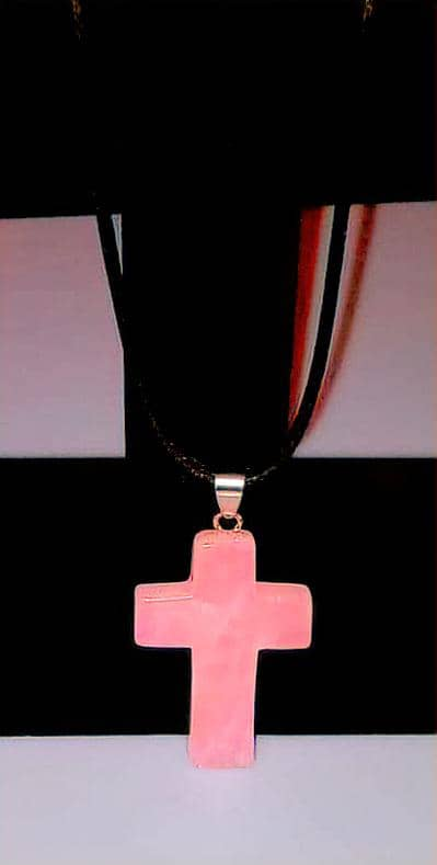 Rose Quartz Gemstone 1.6 inch Cross Necklace with Pink or Black Rope Chain Free Shipping (4294379307102)