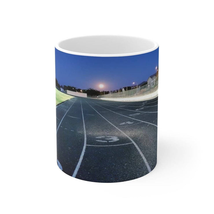 Quarter Mile Track White Ceramic Mug (11oz or 15oz) Mug