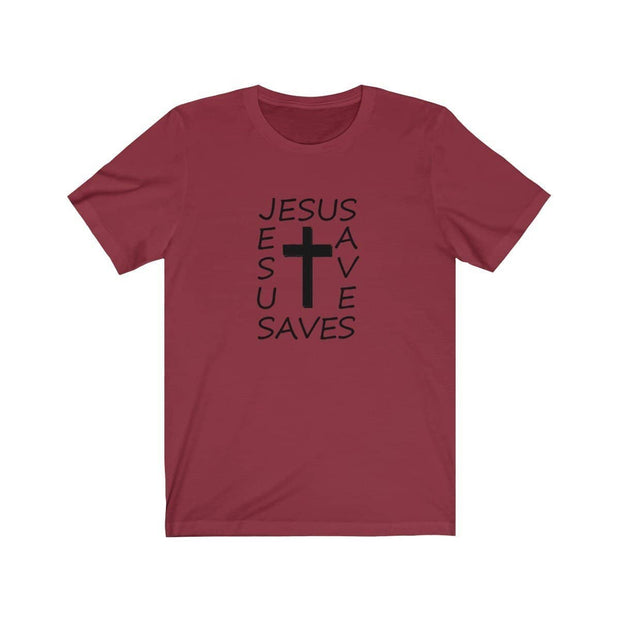 Bella & Canvas 3001 T-Shirt Jesus Saves in 14 Colors and 7 Sizes Cardinal / XS T-Shirt