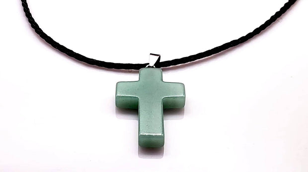 Aventurine Gemstone 1.6 inch Cross Necklace with Black or Green Rope Chain Free Shipping (4395371593822)