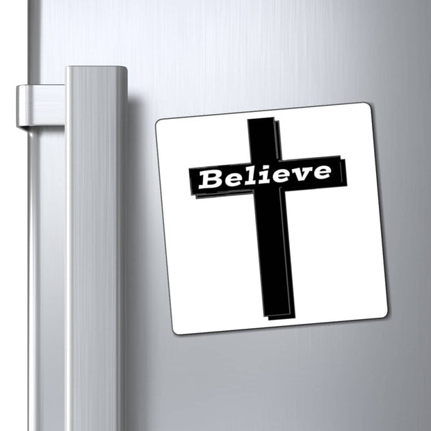"Magnet White ""Believe"" in 3 Sizes"