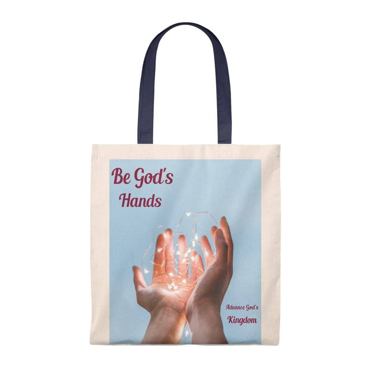 Tote Bag - Vintage Be Gods Hands Natural/Navy / Small Bags (3117241466980)