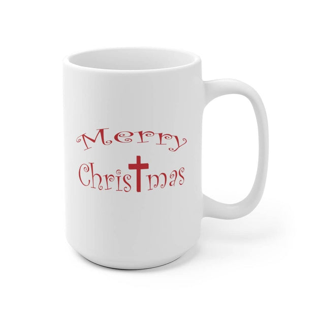 "White Ceramic Mug ""Merry Christmas"" in 11 oz or 15 oz Sizes"