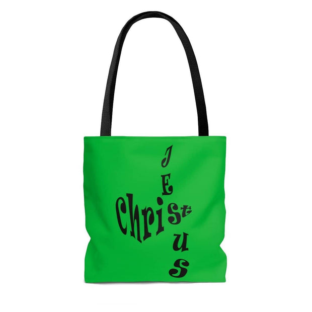 "AOP Tote Bag ""Jesus Christ"" in Christmas Green in 3 Sizes"