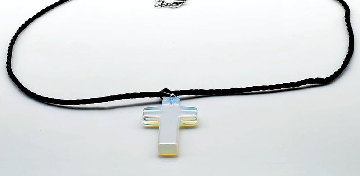 Opal Gemstone 1.6 inch Cross Necklace with Black, Pink, or White Rope Chain Free Shipping (4395367858270)