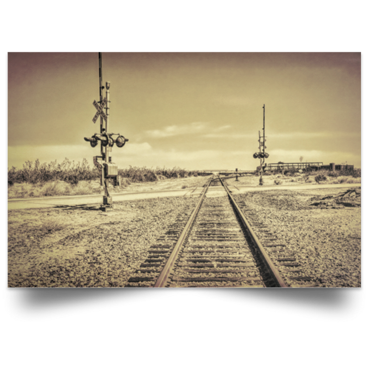Satin Poster Desert Railway Crossing White / 18 x 12 Poster (2808517328996)