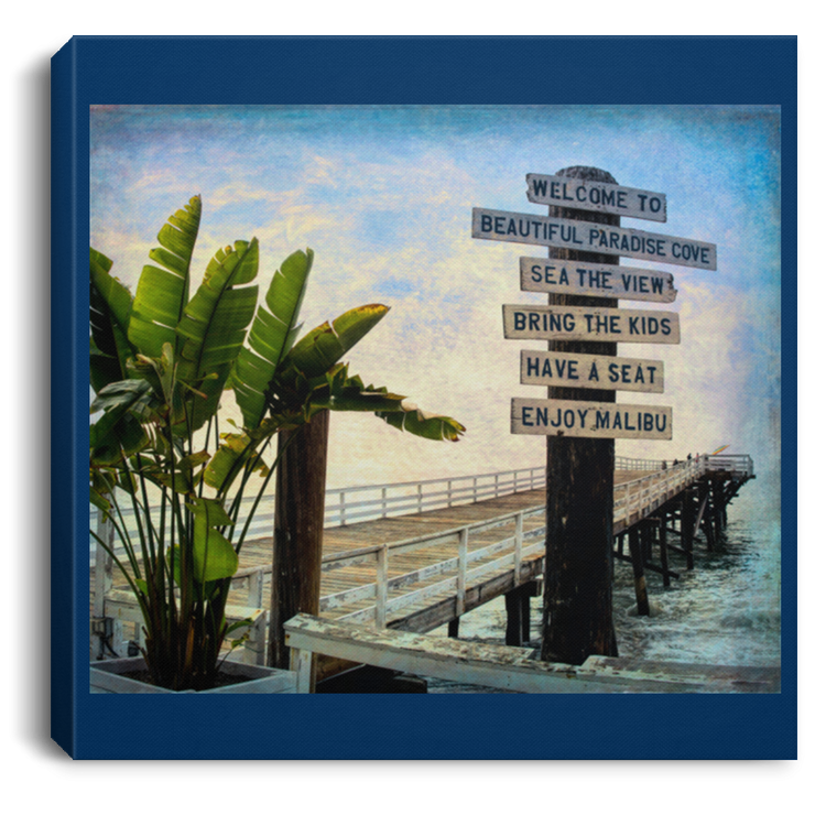 Canvas Print Beach Sign Square Royal / 8 x 8 Canvas Print (1917667410020)