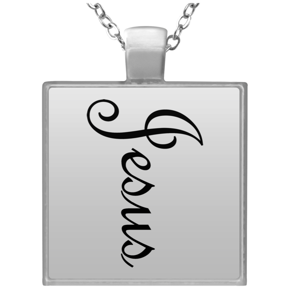"Square Silver Plated Necklace ""Jesus"" (3931726676062)"